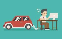 Affärsman som kedjas fast på arbete och en bil royaltyfri illustrationer