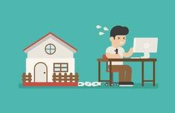 Affärsman som kedjas fast på arbete och ett hus stock illustrationer