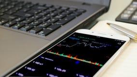 Affärsman som kontrollerar aktiemarknaden Applicatio för aktiemarknaddataม arkivfoto