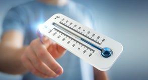 Affärsman som kontrollerar tolkningen för temperaturdroppe 3D Royaltyfri Bild