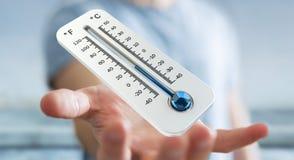 Affärsman som kontrollerar tolkningen för temperaturdroppe 3D Royaltyfria Foton
