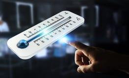 Affärsman som kontrollerar tolkningen för temperaturdroppe 3D Arkivbilder