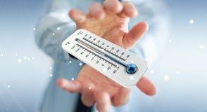 Affärsman som kontrollerar tolkningen för temperaturdroppe 3D Arkivfoton