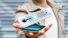Affärsman som kontrollerar tolkningen för temperaturdroppe 3D Royaltyfri Fotografi