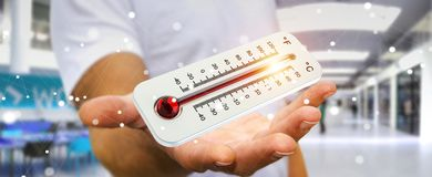 Affärsman som kontrollerar tolkningen för temperaturlöneförhöjning 3D Arkivbilder