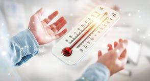 Affärsman som kontrollerar tolkningen för temperaturlöneförhöjning 3D Royaltyfria Foton