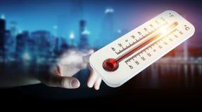 Affärsman som kontrollerar tolkningen för temperaturlöneförhöjning 3D Arkivfoto