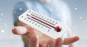 Affärsman som kontrollerar tolkningen för temperaturlöneförhöjning 3D Royaltyfri Fotografi