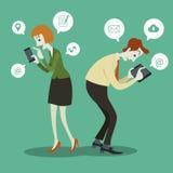 Affärsman som meddelar med det sociala pratstundtecknet och anförande Arkivbild