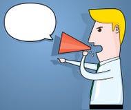 Affärsman som meddelar till och med megafonen, affärsidé, vektor Royaltyfria Bilder