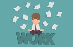Affärsman som mediterar i fred på arbete Tecknad film av affärssucc Arkivfoto