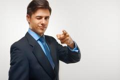 affärsman som pekar dig framgång royaltyfri fotografi