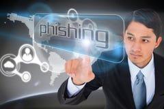 Affärsman som pekar för att uttrycka phishing Royaltyfri Foto