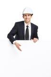 Affärsman som pekar handgester på copyspace royaltyfri bild