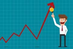 Affärsman som pekar lönelyfttillväxtgrafen med idé Finansiell framgång för affärsidé royaltyfri illustrationer