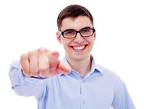 Affärsman som pekar på kameran Fotografering för Bildbyråer