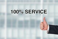 Affärsman som pekar på servicen för ord 100% Royaltyfri Fotografi