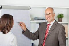 Affärsman som pekar pennan på flipchart Arkivbild