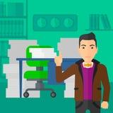 Affärsman som pekar upp med hans pekfinger stock illustrationer