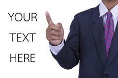 Affärsman som pekar upp med vit bakgrund Arkivfoton