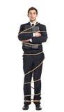 Affärsman som räcker portföljen som binds med kabeln royaltyfria foton