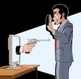 Affärsman som rånas över internet, medan arbeta på bärbar datordatoren Arkivfoton