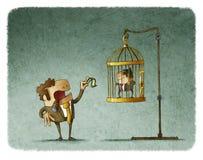 Affärsman som retar och förlöjligar anställd stock illustrationer