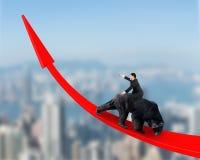 Affärsman som rider den svarta björnen på röd pil upp trendlinje Royaltyfri Fotografi