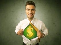 Affärsman som river av hans skjorta med dollartecknet på bröstkorg Arkivbild