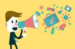 Affärsman som ropar med högtalaren Arkivfoto