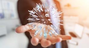 Affärsman som rymmer 3D som framför omgeende plommoner för grupp människor Arkivbild