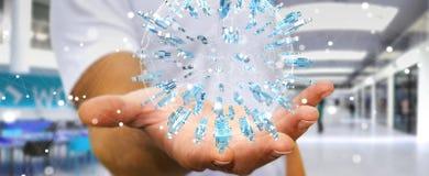 Affärsman som rymmer 3D som framför omgeende plommoner för grupp människor Royaltyfria Foton