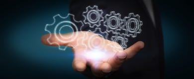 Affärsman som rymmer den digitala motorn 3D Arkivfoto