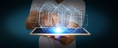 Affärsman som rymmer den digitala motorn 3D Royaltyfri Bild