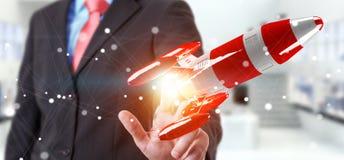 Affärsman som rymmer den röda raket i hans tolkning för hand 3D Arkivbilder