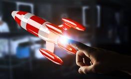Affärsman som rymmer den röda raket i hans tolkning för hand 3D Royaltyfri Fotografi