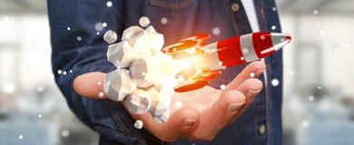 Affärsman som rymmer den röda raket i hans tolkning för hand 3D Royaltyfri Bild
