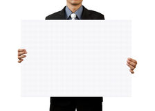Affärsman som rymmer det blanka tecknet på white Arkivbilder