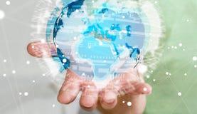 Affärsman som rymmer det globala nätverket på tolkning för planetjord 3D Arkivfoto