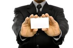 Affärsman som rymmer det Name kortet Fotografering för Bildbyråer