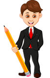 Affärsman som rymmer en blyertspenna Royaltyfria Bilder