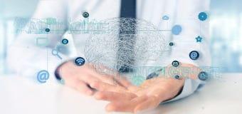 Affärsman som rymmer en 3d som framför conce för konstgjord intelligens Arkivbild