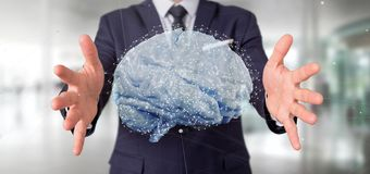 Affärsman som rymmer en 3d som framför den konstgjorda hjärnan Royaltyfria Foton