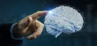 Affärsman som rymmer en 3d som framför den konstgjorda hjärnan Arkivbilder