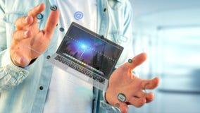 Affärsman som rymmer en dator som omger vid app och social ico Royaltyfria Bilder