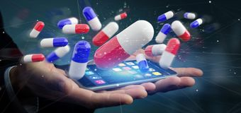 Affärsman som rymmer en grupp för tolkning 3d av medicinska preventivpillerar Royaltyfri Bild