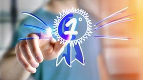 Affärsman som rymmer en hand dragen belöning för numret ett arkivbild