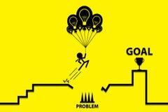 Affärsman som rymmer en idélightbulbballong för att passera problemet, affärsidé Arkivbild