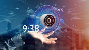 Affärsman som rymmer en knapp av en smart hem- automation app - 3d stock illustrationer