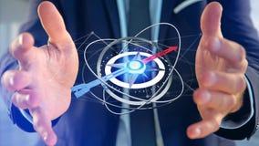 Affärsman som rymmer en navigeringkompass - framförd 3d Arkivfoto